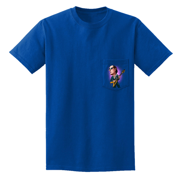 Joe Bonamassa & Amos Cartoon Pocket T-Shirt (Unisex) - Royal