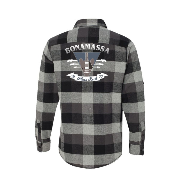 Blues Rock Guitar Logo Flannel Long Sleeve (Men) - Black
