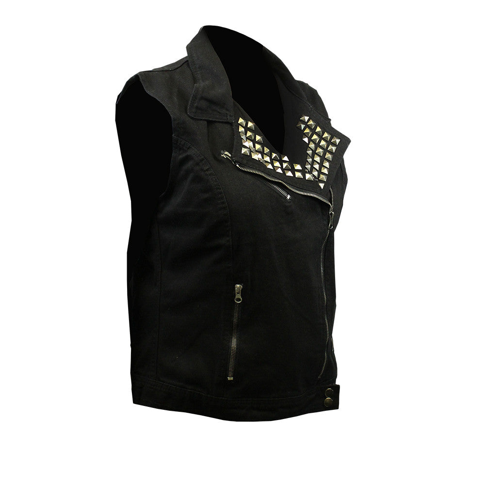 In Blues We Trust Back Patch - Black Denim Vest with Studded Collar (Women)
