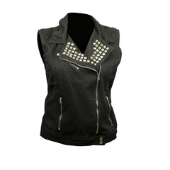 Live to Ride Back Patch - Black Denim Vest with Studded Collar (Women)
