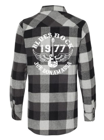 Blues Rock Flannel Long Sleeve (Women) - Black