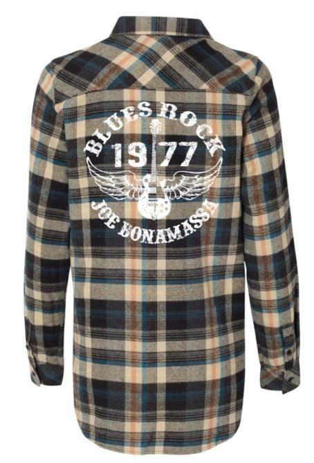 Blues Rock Flannel Long Sleeve (Women) - Dark Khaki