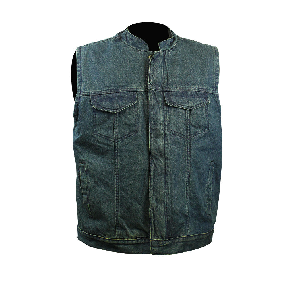 In Blues We Trust Back Patch - Blue Denim Club Vest (Men)
