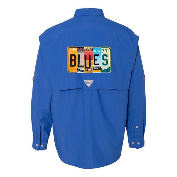 Columbia Bahama II Vivid Blue Long Sleeve - Blues License Plate (Men)