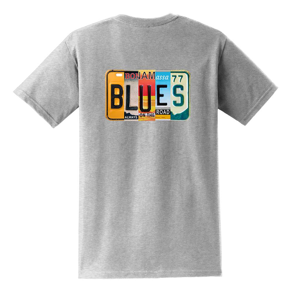Blues License Plate Pocket T-Shirt (Unisex) - Ash