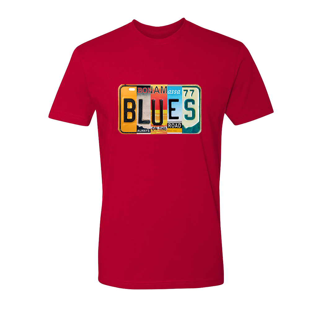 Blues License Plate T-Shirt (Unisex) - Red