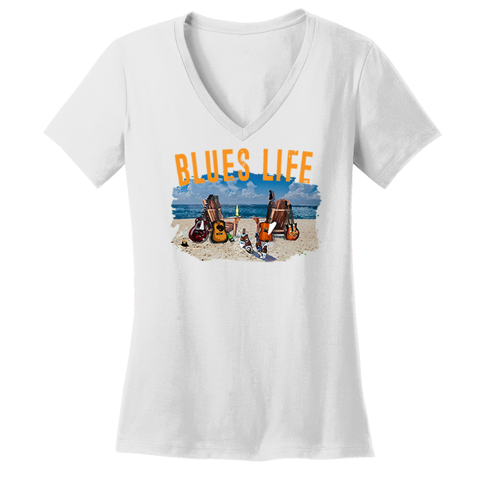 Blues Life V-Neck (Women) - White