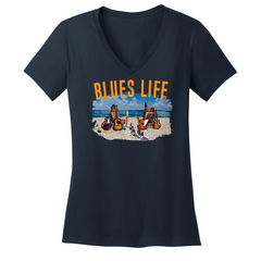 Blues Life V-Neck (Women) - Navy