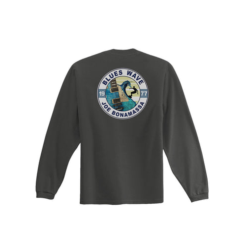 Blues Wave T-shirt - Charcoal Grey Long Sleeve (Men)