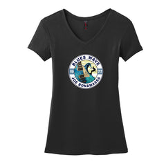 Blues Wave V-Neck T-Shirt (Women) - Black