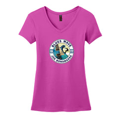 Blues Wave V-Neck T-Shirt (Women) - Pink Raspberry