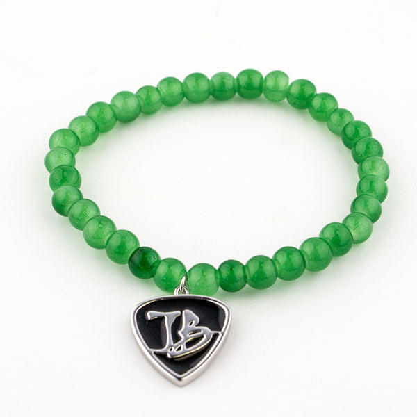 Glass Bead Charm Bracelet - Emerald