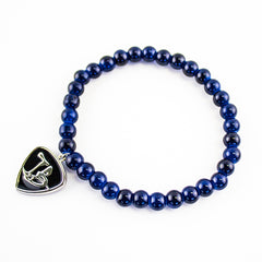 Glass Bead Charm Bracelet - Steel Blue