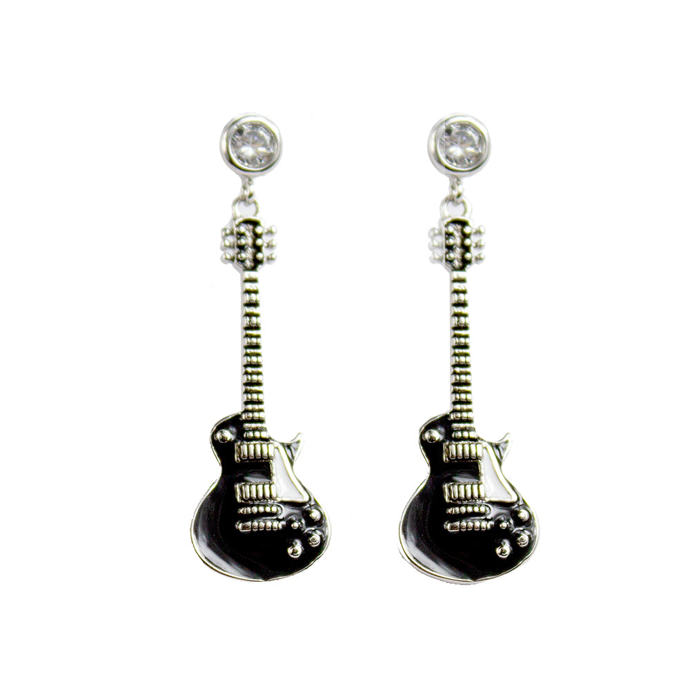Bona-Fide Black Guitar Earrings