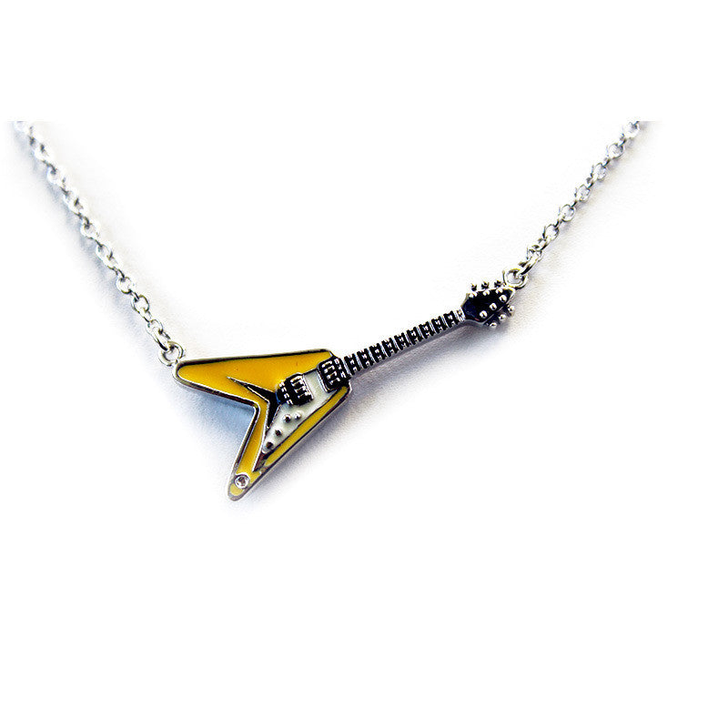 steel black color necklace for stainless music products plated available gun guitar men pendant lovers gift in women gold