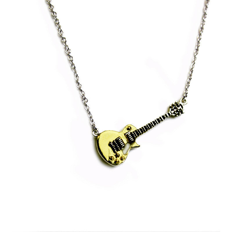 necklace silver plated guitar portuguese in gold en icons