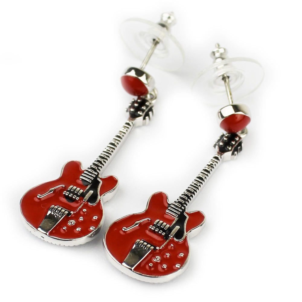 Bona-Fide Red ES Guitar Earrings