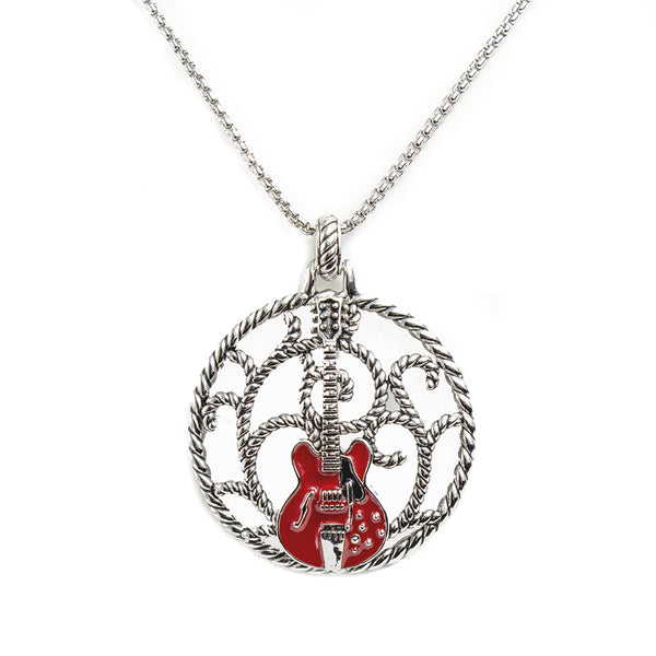 Bona-Fide Red ES Guitar Lattice Necklace