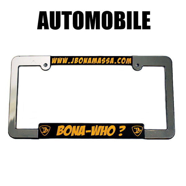 Bona-Who? Silver License Plate Frame - Auto