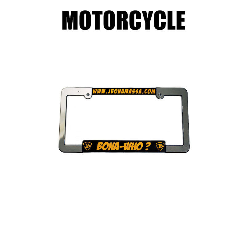 Bona-Who? Silver License Plate Frame - Motorcycle