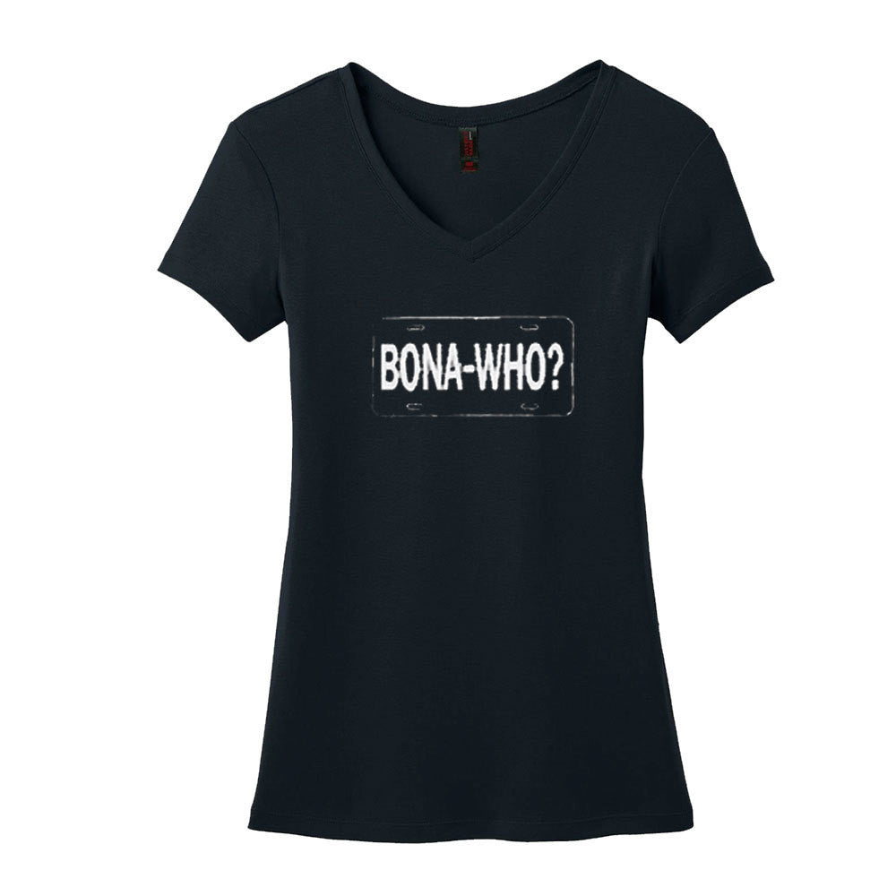 Bona Who? License Plate V-Neck (Women) - Black