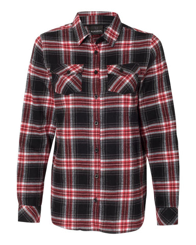 Vintage Headstock Flannel Long Sleeve (Women) - Red & Black