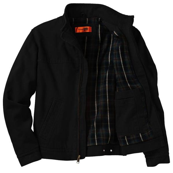 In Blues We Trust Back Patch - Corner Stone Washed Duck Cloth Flannel Lined Jacket (Men)