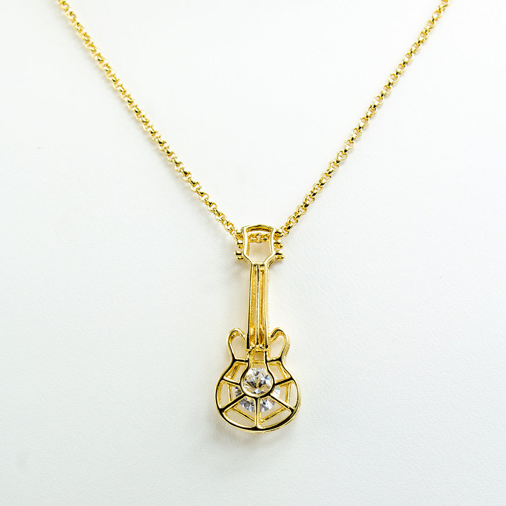 Caged Stone Guitar Necklace - Gold