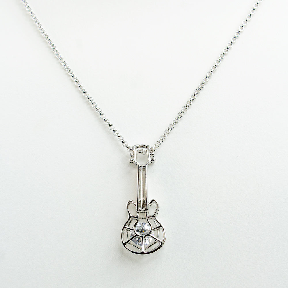 Caged Stone Guitar Necklace - Silver