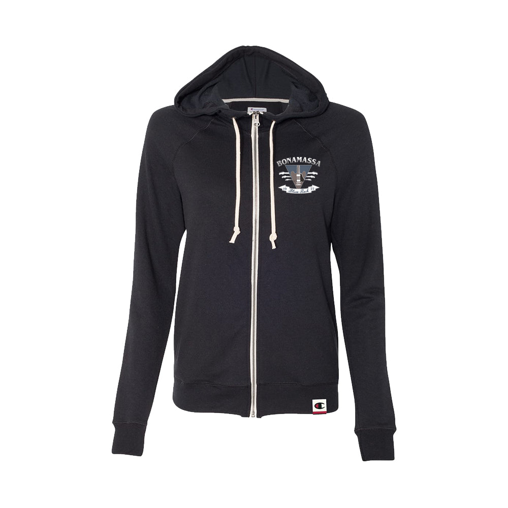 Blues Rock Guitar Logo - Champion Women's Zip-Up Hoodie (Black)