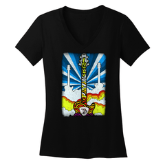 Psych Guitars V-Neck (Women) - Black