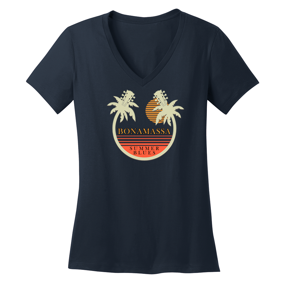 Bonamassa Summer Palms V-Neck (Women) - Navy