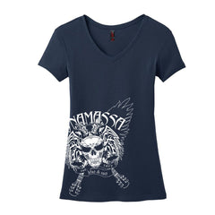 Blue and Evil V-Neck (Women) - Navy