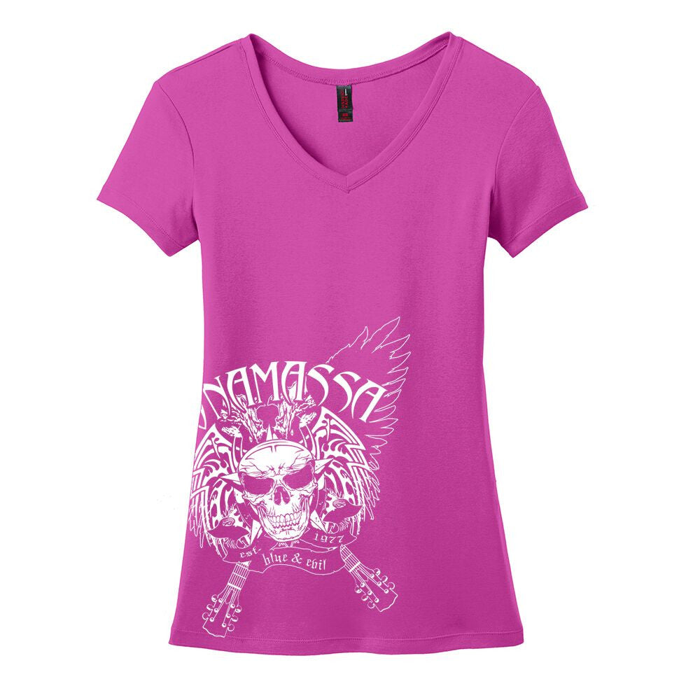 Blue and Evil V-Neck (Women) - Pink Raspberry