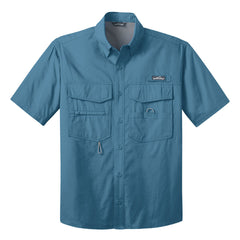 Blues Life Shield Eddie Bauer Short Sleeve Fishing Shirt (Men) - Blue