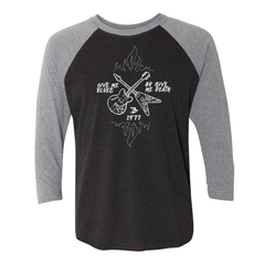 Give Me Blues Or Give Me Death Crossroads 3/4 Sleeve T-Shirt (Unisex) - Heather Grey/ Black