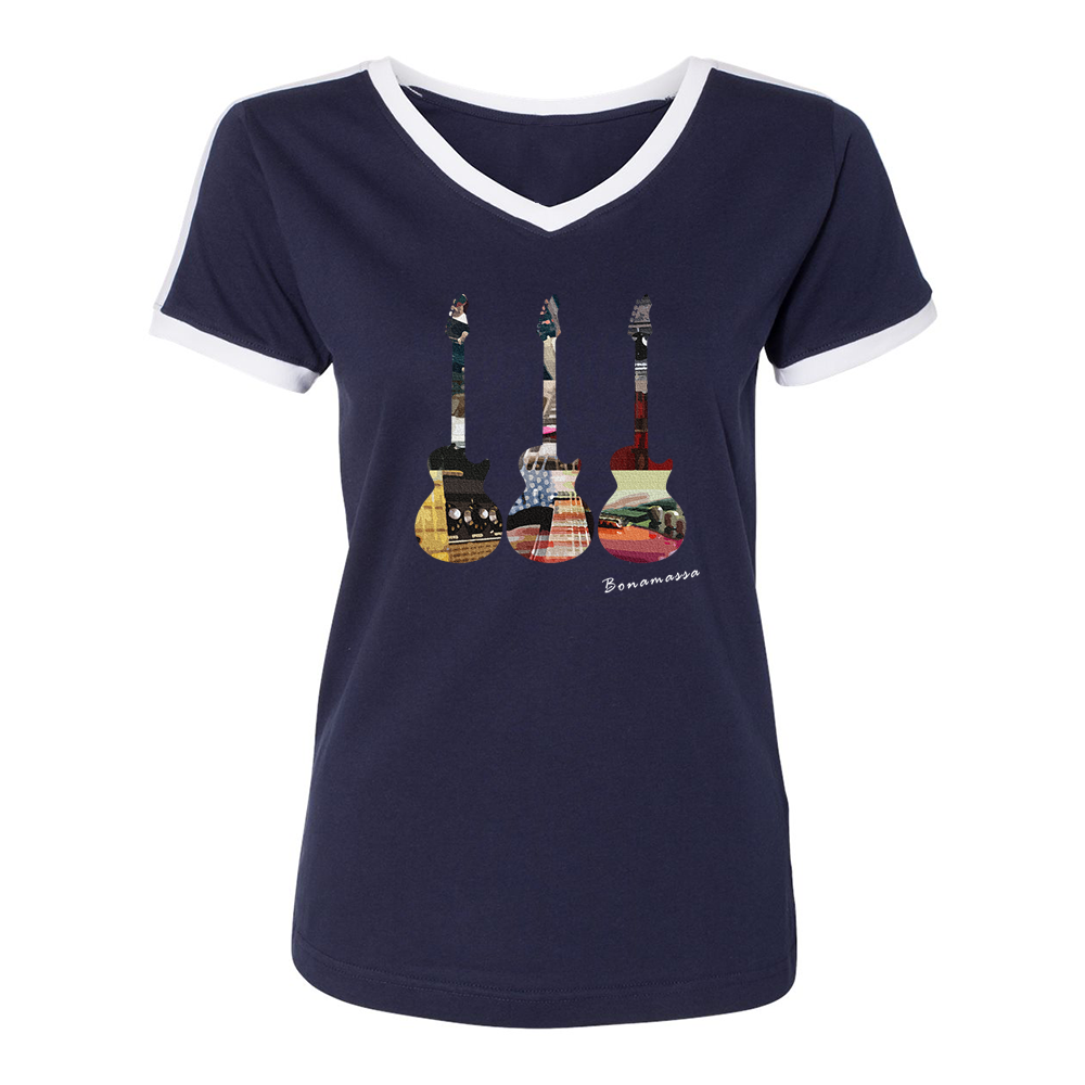 Guitar Scene Contrast V-Neck (Women) - Navy