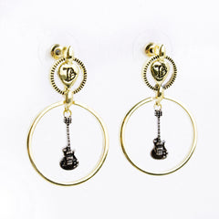Guitar Drop 2-Tone Earrings