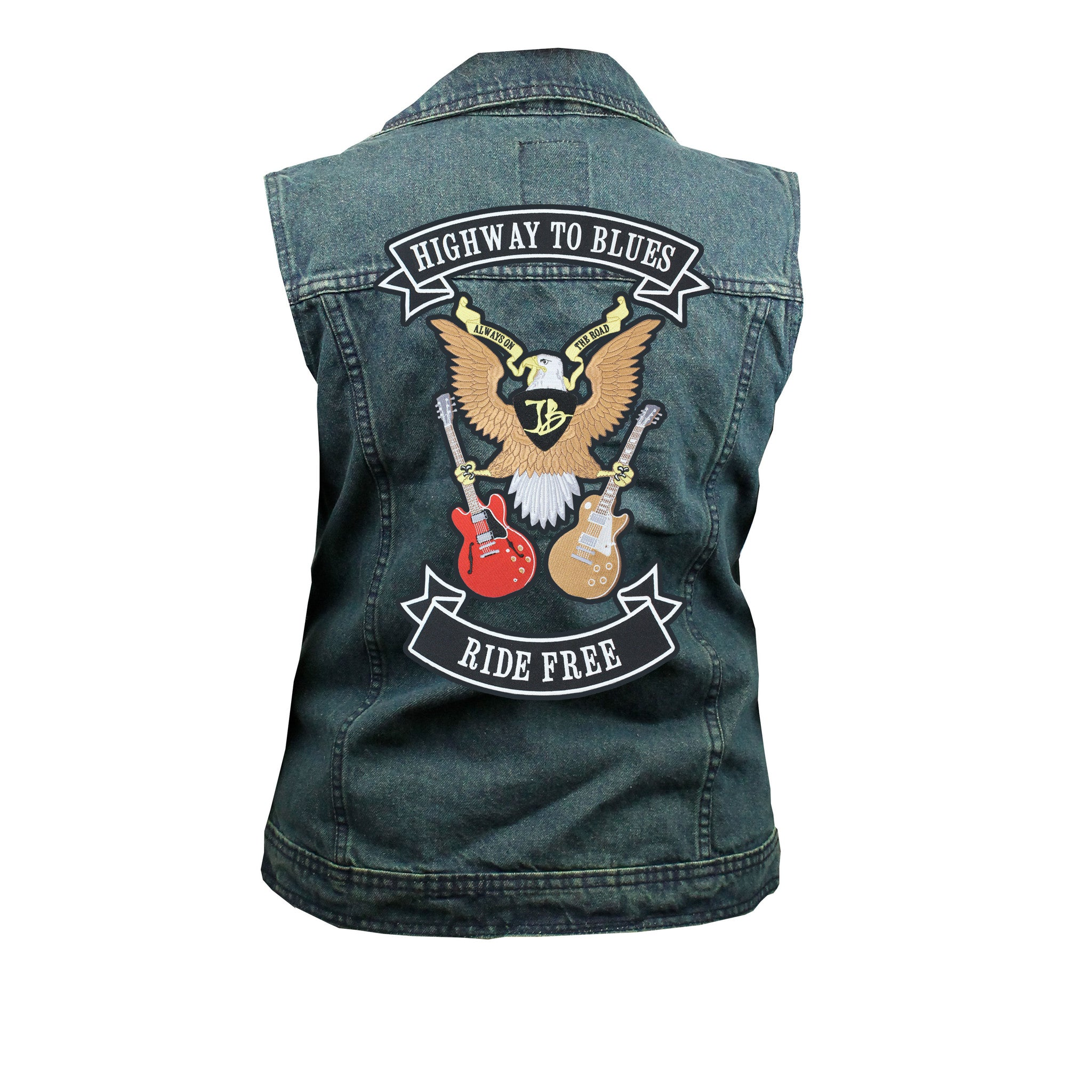 Highway to Blues Back Patch - Blue Denim Vest with Studded Collar (Women)