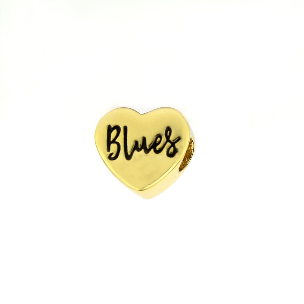 I Love Blues Bead - Gold