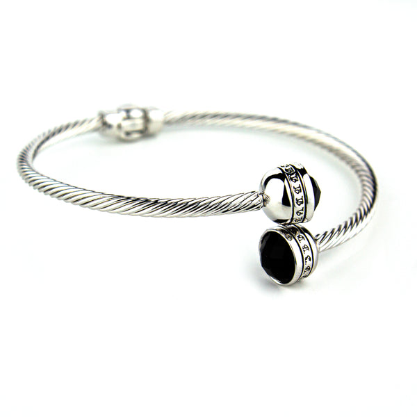 JB Logo Adjustable Bangle - Silver