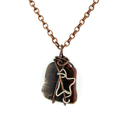 Petrified Wood & Guitar String Necklace - Copper Wire