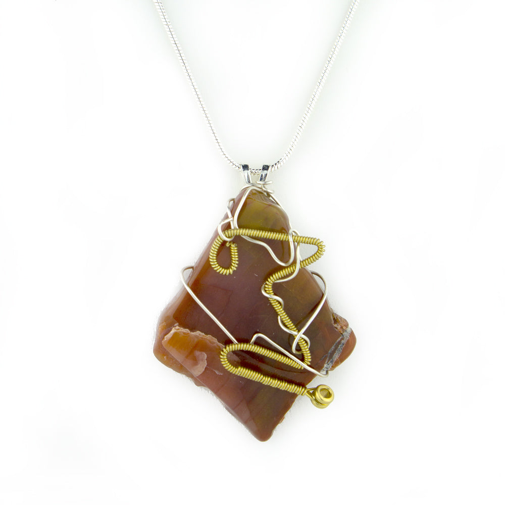 Petrified Wood & Guitar String Necklace - Silver Wire