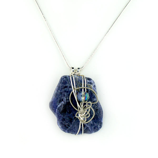 Sodalite & Guitar String Necklace - Silver Wire