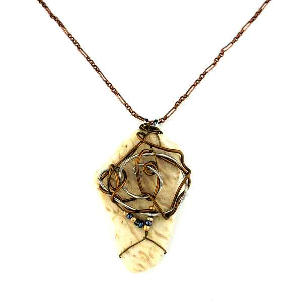 Petrified Palmwood & Guitar String Necklace - Bronze Wire