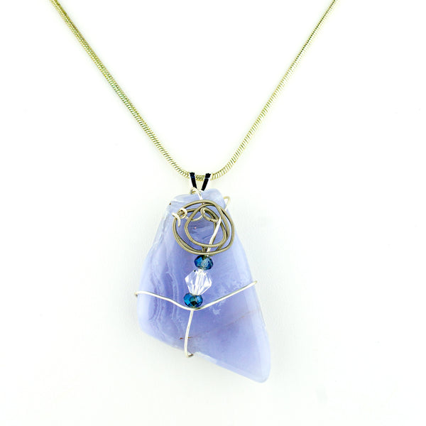 Blue Lace Agate & Guitar String Necklace - Silver Wire