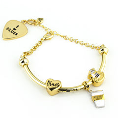 "Starter Set with ""I Love Blues"" Adjustable Bracelet Bar & Chain - Gold"