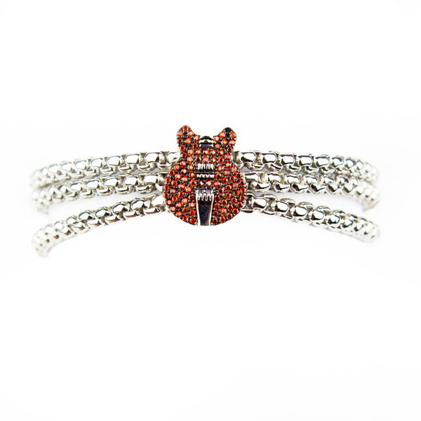 Red ES Pave Box Chain Bracelet