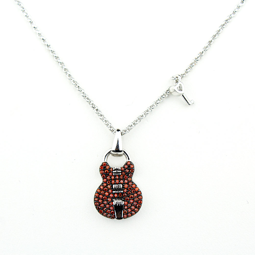 Red ES Pave Keyhole Necklace