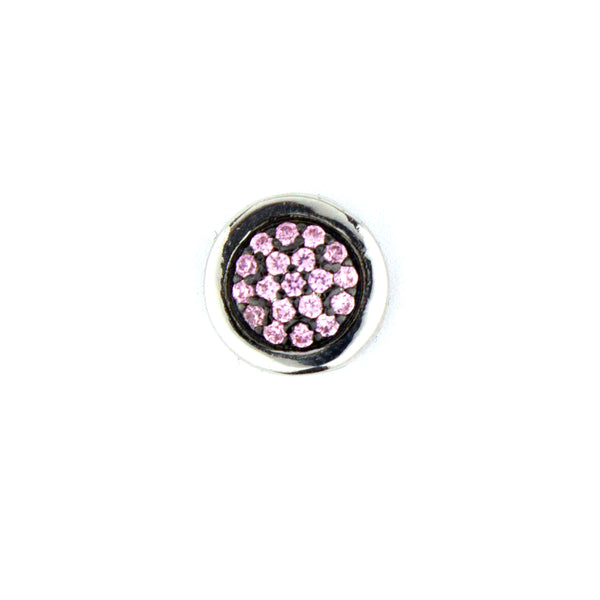 Double Sided Pavé  Round Bead - Pink
